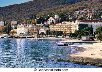 Opatija, Croatia - Panoramic view of Mediterranean town,...