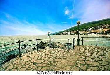 opatija, lungomare, adriatycki, coast., ścieżka, wzdłuż, wypad, croatia.