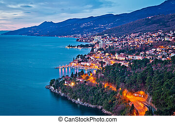 Opatija riviera and Kvarner bay morning panoramic view from above