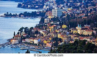 Opatija riviera bay bay and coastline panoramic view, ...