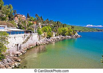 Opatija riviera beach and coastline view near Volosko, ...