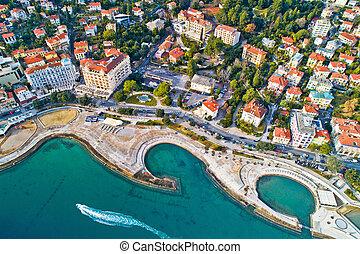 Opatija. Slatina beach in Opatija aerial panoramic view, ...