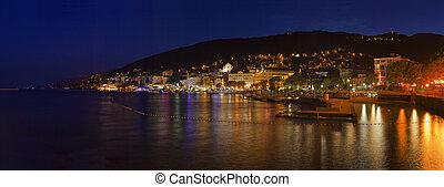 Opatija Town Croatia Night Panorama