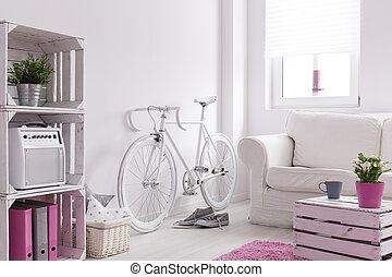 opbevarer, cykel, rum