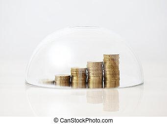 opblussende, gylden, mønter, under, glas