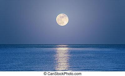 opblussende, hav, måne