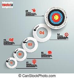 opciók, gyűrű, növekedés, céltábla, infographic, 5