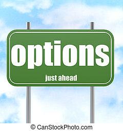 opciók, igazságos, előre, zöld, út cégtábla