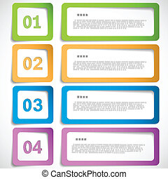 opción, 1-2-3-4, -, papel, plantilla, marcos