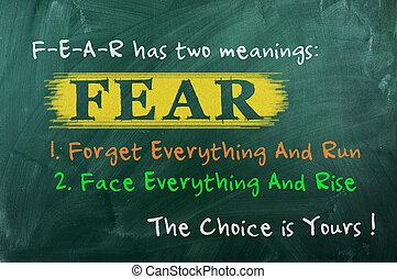 opción, concepto, miedo