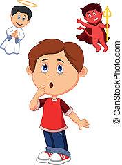 opción, niño, betwe, caricatura, confundir