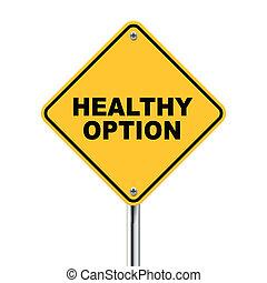 opcja, zdrowy, ilustracja, roadsign, żółty, 3d