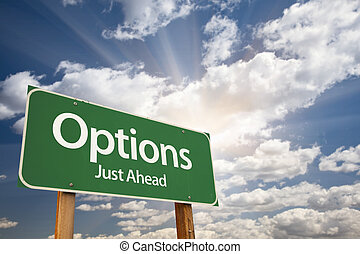 opcje, zielony, droga znaczą, przeciw, chmury