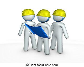 opdrachtnemers, bouwschets, gebouw stek, 3d, beeld