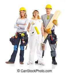 opdrachtnemers, werkmannen , mensen