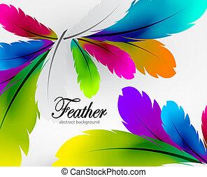 opeřit, vektor, barvitý, grafické pozadí