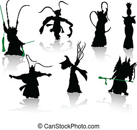 ope, silhouettes, dancers., kinesisk