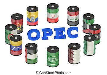 OPEC concept isolated on white background