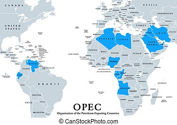 OPEC member states, political map, English labeling. ...