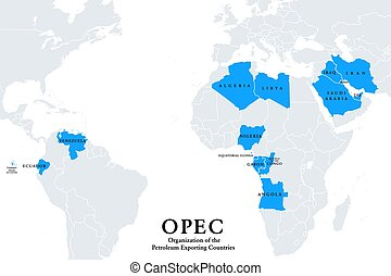 OPEC member states, political map, Organization of the ...