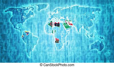 opec, område, världen kartlägger