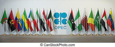 opec, symbol, countries., flaggan, opec.