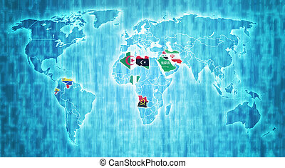 Organization of the Petroleum Exporting Countriesand theit flags on blue digital world map with actual national borders