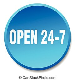 open 24 7 blue round flat isolated push button
