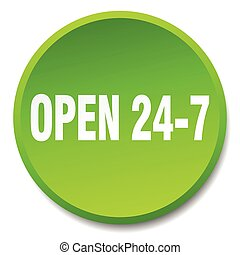 open 24 7 green round flat isolated push button