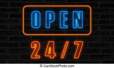 Open 24-7 neon sign, retro style signboard for bar or club,...