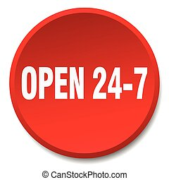 open 24 7 red round flat isolated push button