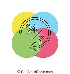 open 24 7 service icon, vector customer service