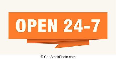 open 24 7 sign. open 24 7 paper origami speech bubble. open...
