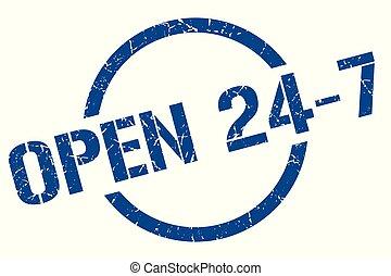 open 24 7 stamp - open 24 7 blue round stamp