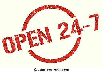 open 24 7 stamp - open 24 7 red round stamp