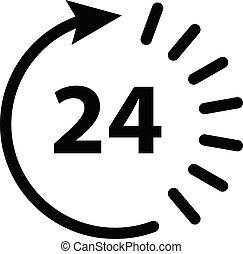 Open 24 hour icon vector for graphic design, logo, web site, social media, mobile app, ui illustration