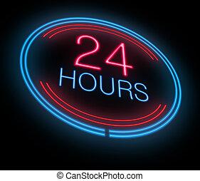 Open 24 hours. - Illustration depicting an illuminated neon...
