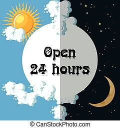 Open 24 hours sign.