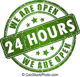 Open 24 hours vector stamp