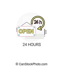Open 24 Hours Working Time Label Icon Vector Illustration