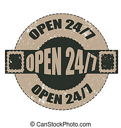 open 24/7 stamp