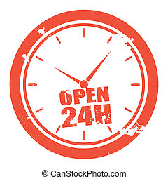 open 24h - detailed illustration of a clock with grunge...