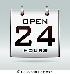 Open 24hr calendar - Simple icon with open 24 hr text on...