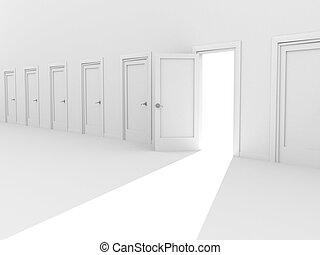 Open 3d door in a row of the closed doors