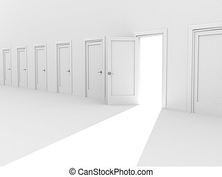 Open 3d door in a row of the closed doors - Open door in a...