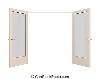 Open 3d door with glass inserts. Object over white