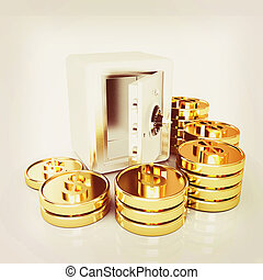 open a bank vault with a bunch of gold coins. isolated on white. . 3D illustration. Vintage style.