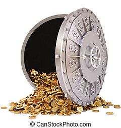 vault - open a bank vault with a bunch of gold coins....