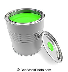 Open a bank with green paint