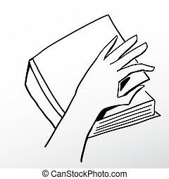 Open a book - Hand opening a book